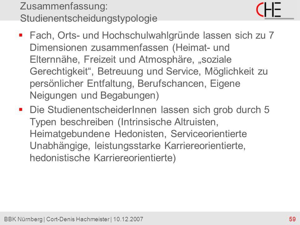 59BBK Nürnberg | Cort-Denis Hachmeister | 10.12.2007 Zusammenfassung: Studienentscheidungstypologie Fach, Orts- und Hochschulwahlgründe lassen sich zu