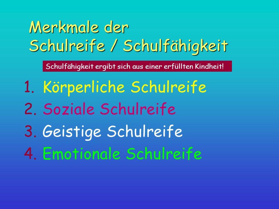 Merkmale der Schulreife / Schulfähigkeit 1.Körperliche Schulreife 2.Soziale Schulreife 3.Geistige Schulreife 4.Emotionale Schulreife Schulfähigkeit er