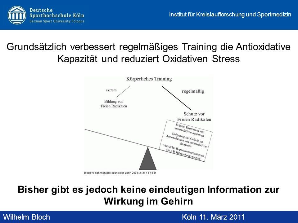 Wilhelm BlochAltenberg, 19. November 2010 Institut für Kreislaufforschung und Sportmedizin Wilhelm BlochKöln 11. März 2011 Grundsätzlich verbessert re