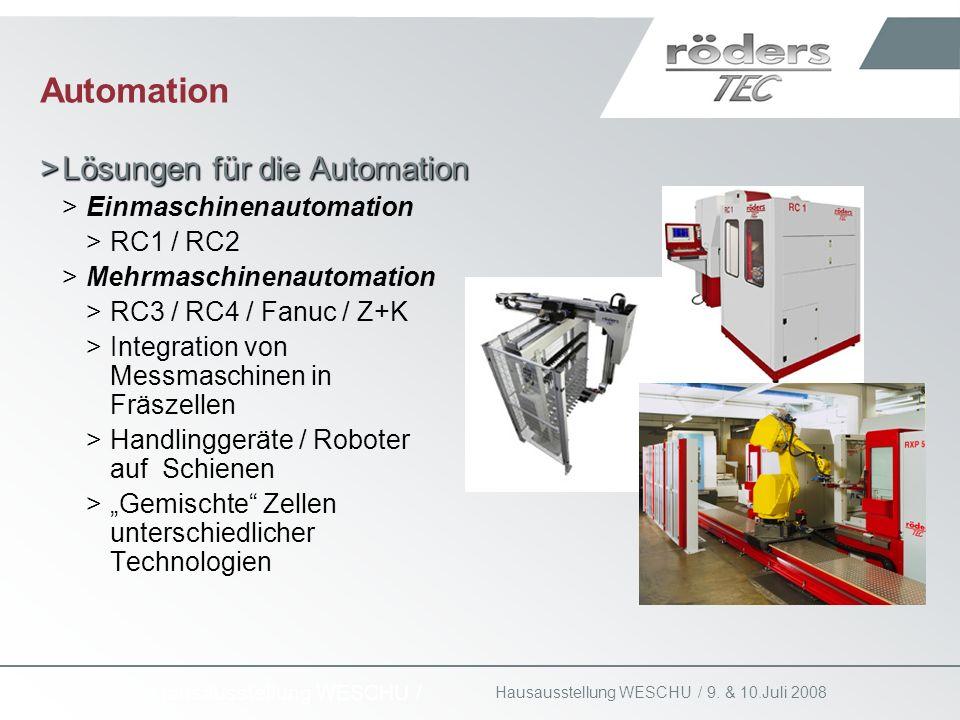 9. & 10.Juli 2008 Hausausstellung WESCHU / Automation >Lösungen für die Automation >Einmaschinenautomation >RC1 / RC2 >Mehrmaschinenautomation >RC3 /