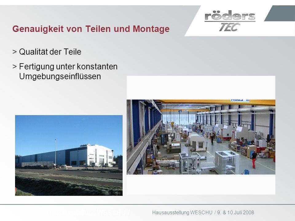 9. & 10.Juli 2008 Hausausstellung WESCHU / Genauigkeit von Teilen und Montage >Qualität der Teile >Fertigung unter konstanten Umgebungseinflüssen