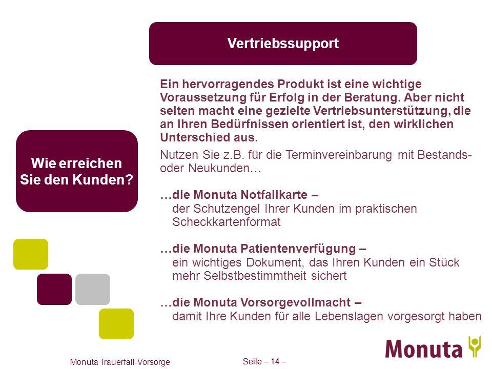 Seite – 14 – Monuta Trauerfall-Vorsorge Seite – 14 – Vertriebssupport Wie erreichen Sie den Kunden? Ein hervorragendes Produkt ist eine wichtige Vorau