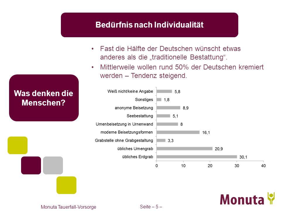 Seite – 5 – Monuta Tauerfall-Vorsorge Was denken die Menschen? Bedürfnis nach Individualität Fast die Hälfte der Deutschen wünscht etwas anderes als d