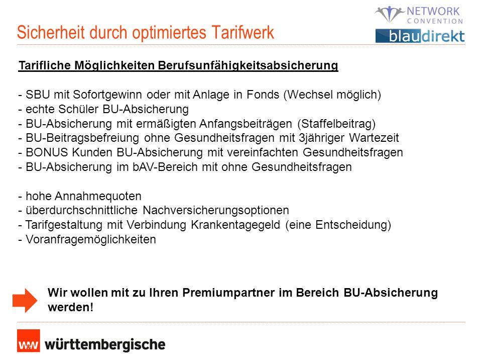 Sicherheit durch optimiertes Tarifwerk Tarifliche Möglichkeiten Berufsunfähigkeitsabsicherung - SBU mit Sofortgewinn oder mit Anlage in Fonds (Wechsel