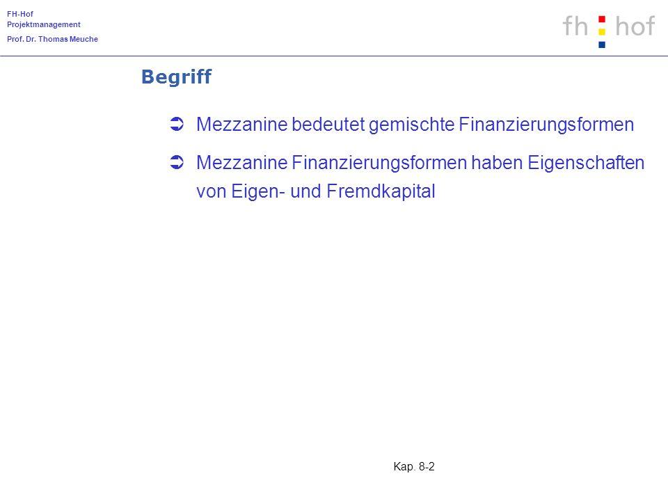 FH-Hof Projektmanagement Prof. Dr. Thomas Meuche Kap. 8-2 Begriff Mezzanine bedeutet gemischte Finanzierungsformen Mezzanine Finanzierungsformen haben