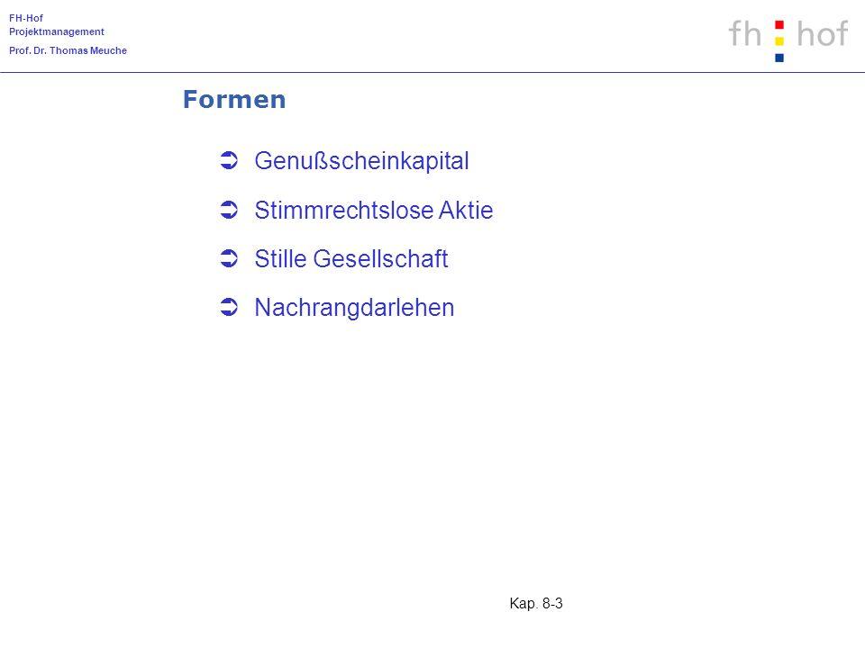 FH-Hof Projektmanagement Prof. Dr. Thomas Meuche Kap. 8-3 Formen Genußscheinkapital Stimmrechtslose Aktie Stille Gesellschaft Nachrangdarlehen