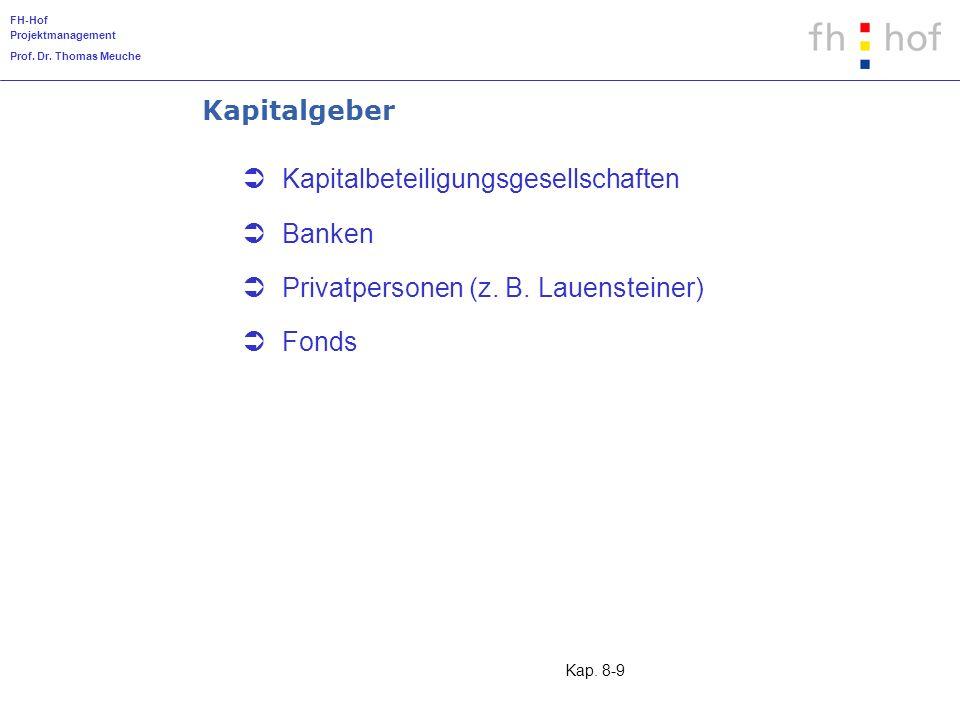 FH-Hof Projektmanagement Prof. Dr. Thomas Meuche Kap. 8-9 Kapitalgeber Kapitalbeteiligungsgesellschaften Banken Privatpersonen (z. B. Lauensteiner) Fo