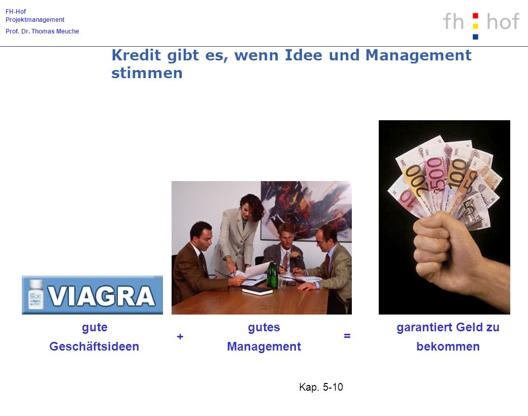 FH-Hof Projektmanagement Prof. Dr. Thomas Meuche Kap. 5-10 garantiert Geld zu bekommen = gutes Management + gute Geschäftsideen Kredit gibt es, wenn I