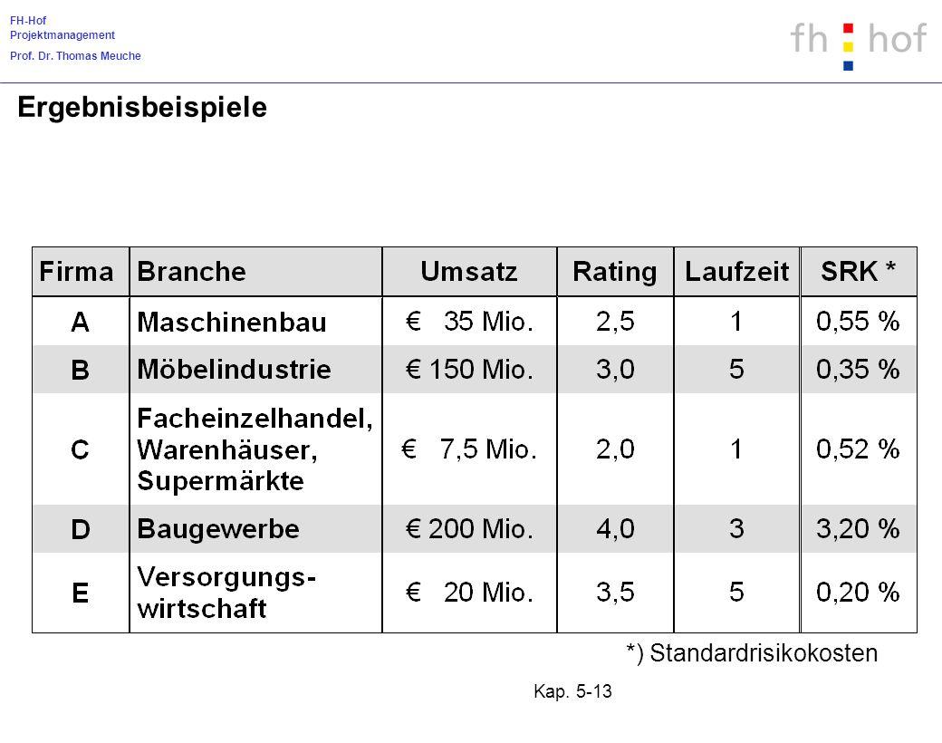 FH-Hof Projektmanagement Prof. Dr. Thomas Meuche Kap. 5-13 Ergebnisbeispiele *) Standardrisikokosten