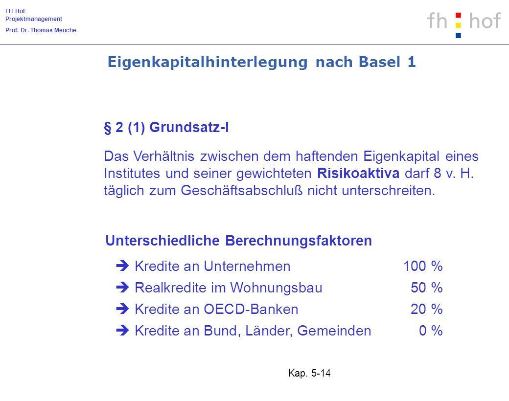 FH-Hof Projektmanagement Prof. Dr. Thomas Meuche Kap. 5-14 Das Verhältnis zwischen dem haftenden Eigenkapital eines Institutes und seiner gewichteten
