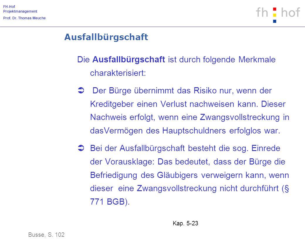 FH-Hof Projektmanagement Prof. Dr. Thomas Meuche Kap. 5-23 Ausfallbürgschaft Die Ausfallbürgschaft ist durch folgende Merkmale charakterisiert: Der Bü