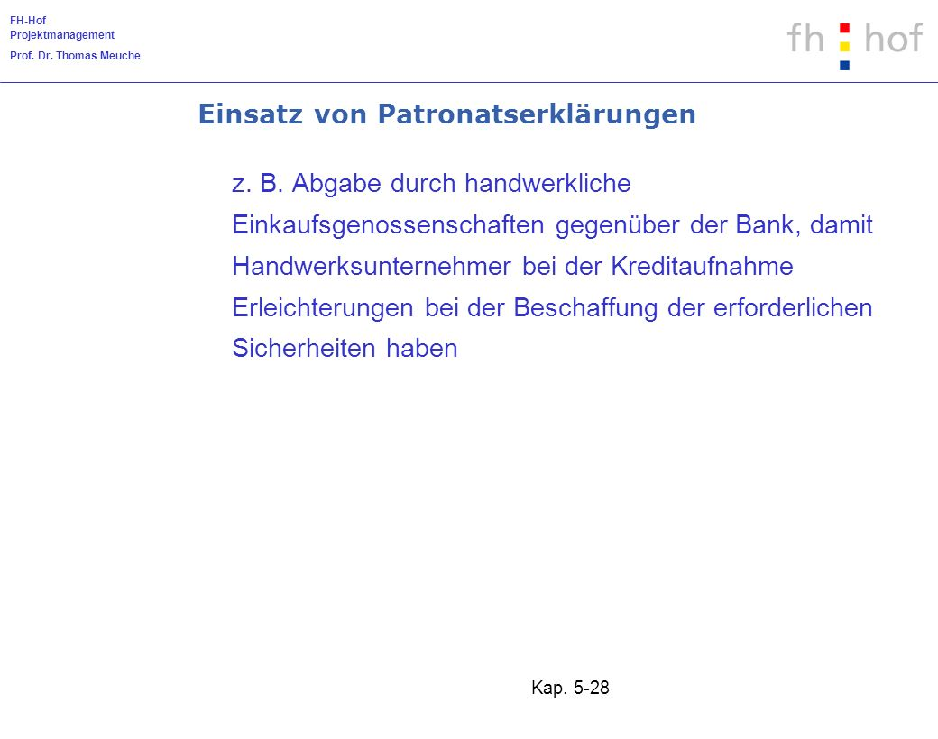 FH-Hof Projektmanagement Prof. Dr. Thomas Meuche Kap. 5-28 Einsatz von Patronatserklärungen z. B. Abgabe durch handwerkliche Einkaufsgenossenschaften