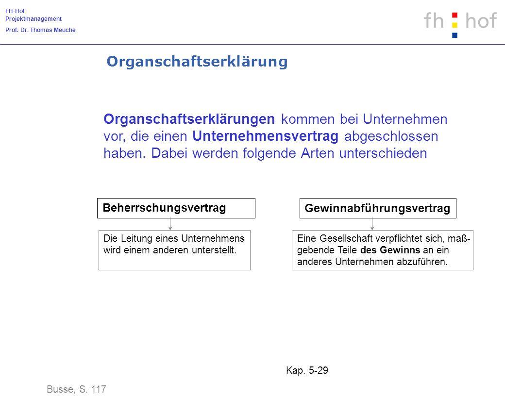 FH-Hof Projektmanagement Prof. Dr. Thomas Meuche Kap. 5-29 Organschaftserklärung Organschaftserklärungen kommen bei Unternehmen vor, die einen Unterne