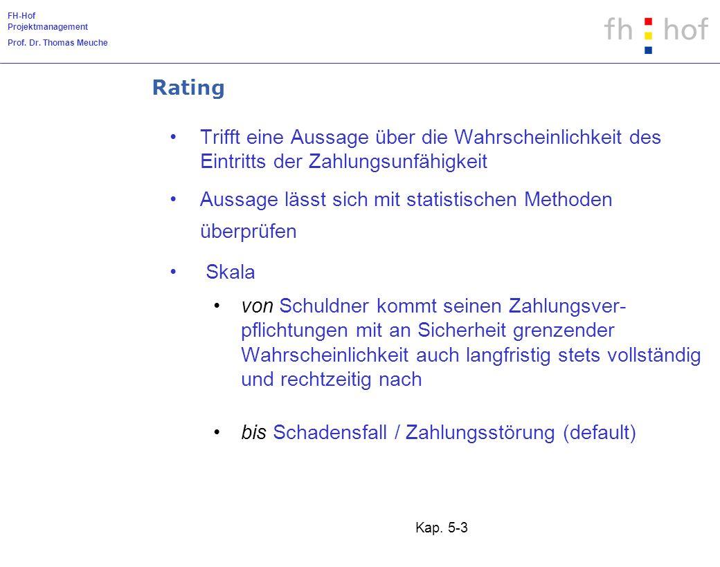 FH-Hof Projektmanagement Prof. Dr. Thomas Meuche Kap. 5-3 Rating Trifft eine Aussage über die Wahrscheinlichkeit des Eintritts der Zahlungsunfähigkeit