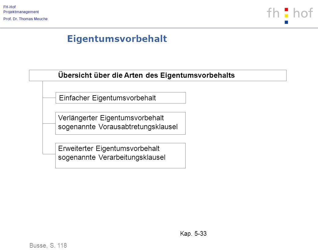 FH-Hof Projektmanagement Prof. Dr. Thomas Meuche Kap. 5-33 Eigentumsvorbehalt Busse, S. 118 Übersicht über die Arten des Eigentumsvorbehalts Einfacher
