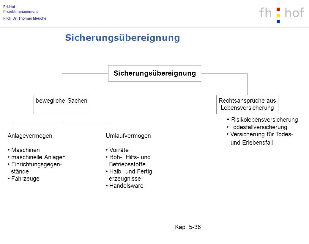FH-Hof Projektmanagement Prof. Dr. Thomas Meuche Kap. 5-36 Sicherungsübereignung bewegliche SachenRechtsansprüche aus Lebensversicherung Anlagevermöge