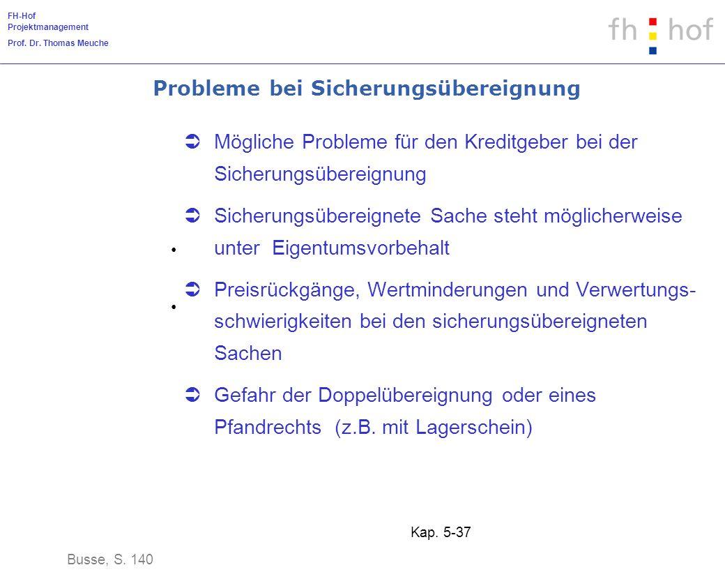 FH-Hof Projektmanagement Prof. Dr. Thomas Meuche Kap. 5-37 Probleme bei Sicherungsübereignung Mögliche Probleme für den Kreditgeber bei der Sicherungs