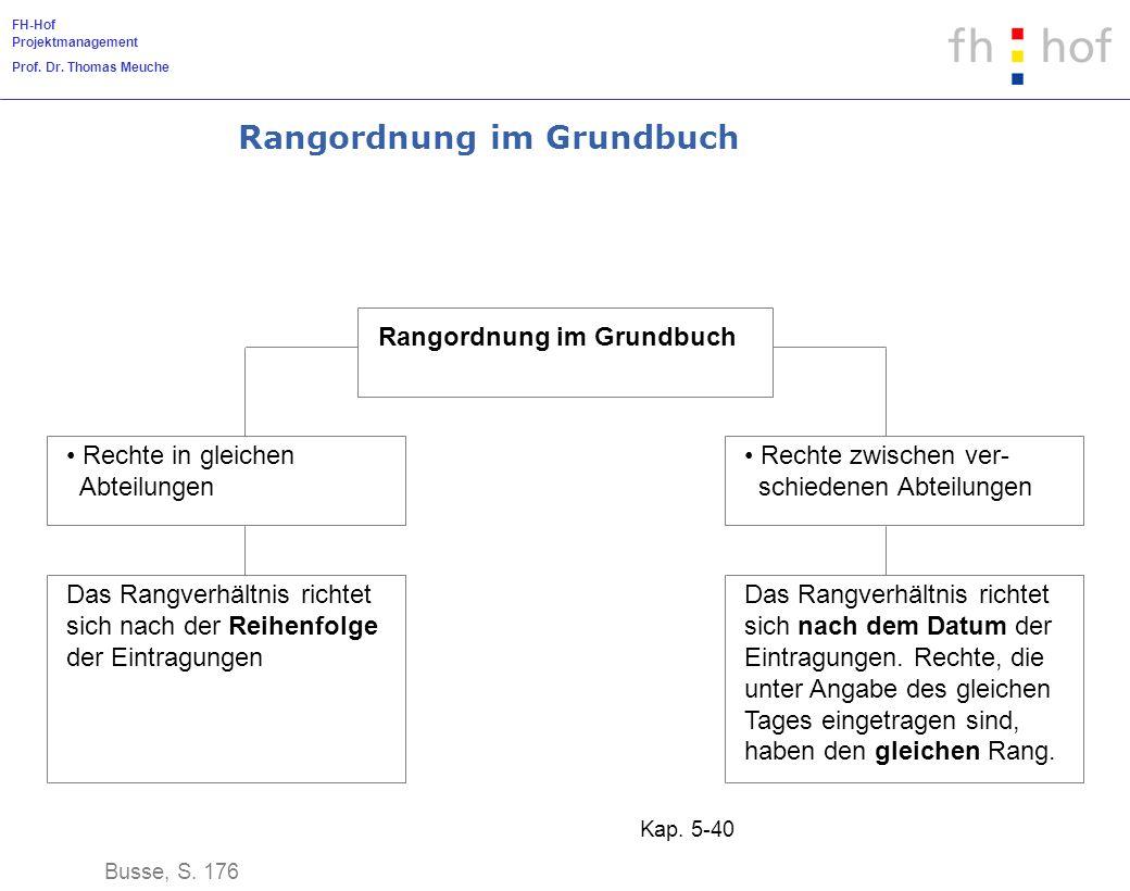 FH-Hof Projektmanagement Prof. Dr. Thomas Meuche Kap. 5-40 Rangordnung im Grundbuch Busse, S. 176 Rangordnung im Grundbuch Rechte in gleichen Abteilun