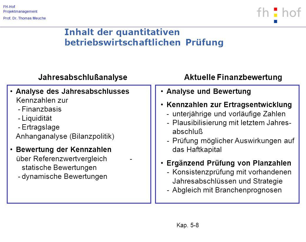 FH-Hof Projektmanagement Prof. Dr. Thomas Meuche Kap. 5-8 Analyse des Jahresabschlusses Kennzahlen zur -Finanzbasis -Liquidität -Ertragslage Anhangana