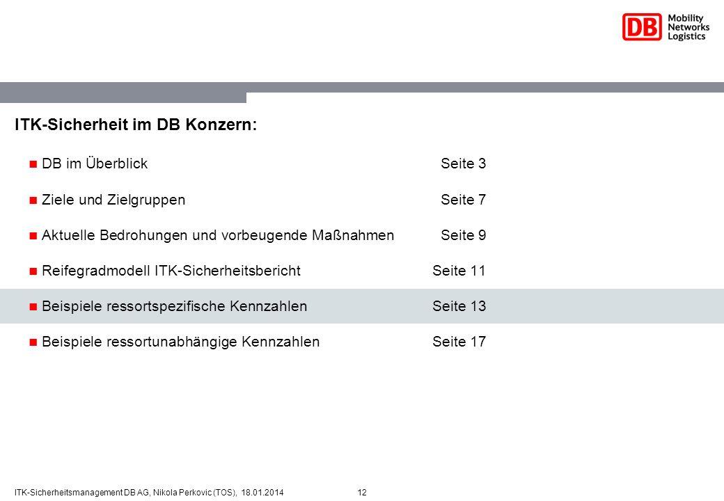 12ITK-Sicherheitsmanagement DB AG, Nikola Perkovic (TOS), 18.01.2014 ITK-Sicherheit im DB Konzern: DB im ÜberblickSeite 3 Ziele und ZielgruppenSeite 7