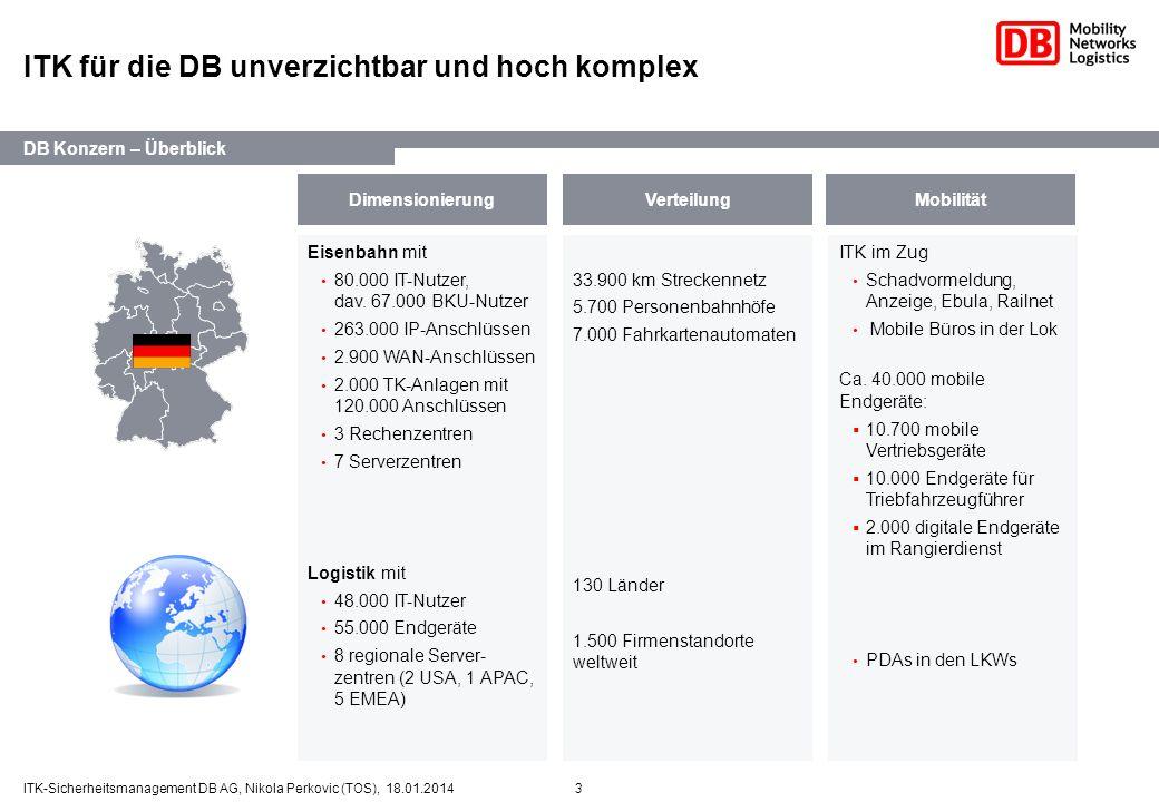 3ITK-Sicherheitsmanagement DB AG, Nikola Perkovic (TOS), 18.01.2014 ITK für die DB unverzichtbar und hoch komplex Eisenbahn mit 80.000 IT-Nutzer, dav.