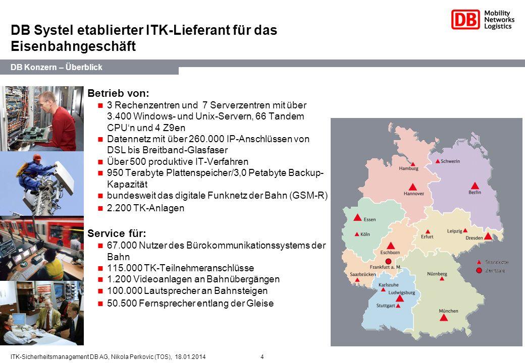 4ITK-Sicherheitsmanagement DB AG, Nikola Perkovic (TOS), 18.01.2014 DB Systel etablierter ITK-Lieferant für das Eisenbahngeschäft Betrieb von: 3 Reche