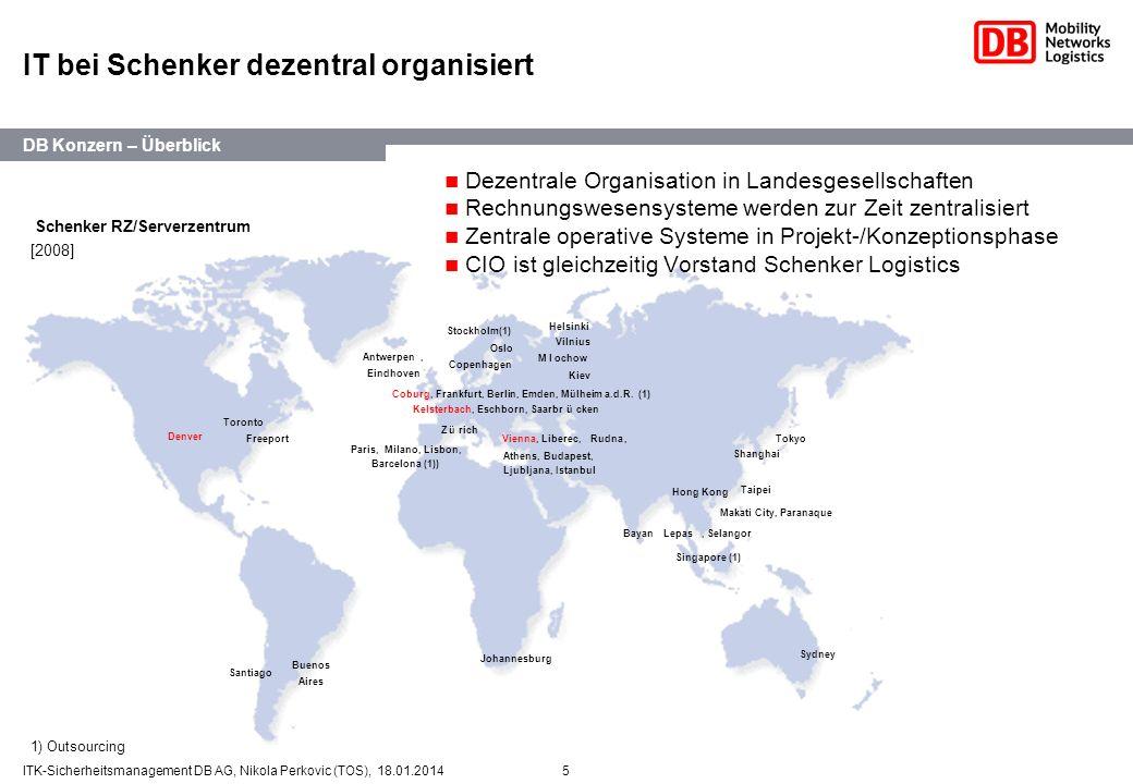 5ITK-Sicherheitsmanagement DB AG, Nikola Perkovic (TOS), 18.01.2014 IT bei Schenker dezentral organisiert Vienna, Liberec,Rudna, Athens, Budapest, Lju