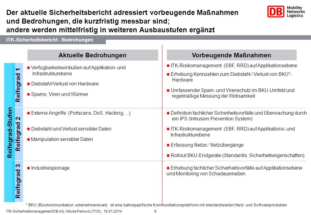 9ITK-Sicherheitsmanagement DB AG, Nikola Perkovic (TOS), 18.01.2014 Der aktuelle Sicherheitsbericht adressiert vorbeugende Maßnahmen und Bedrohungen,