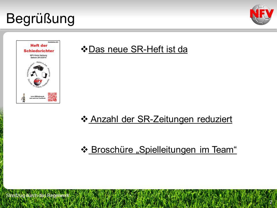 Begrüßung Streifzug durch das Regelwerk 2 Das neue SR-Heft ist da Anzahl der SR-Zeitungen reduziert Broschüre Spielleitungen im Team