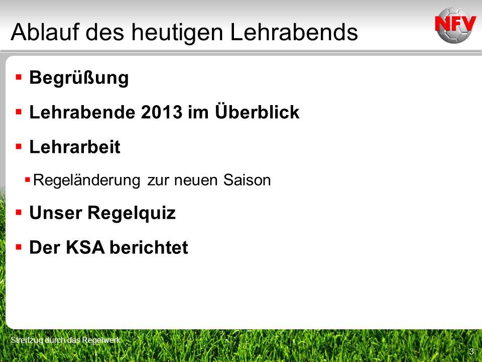 Lehrabende 2013 im Überblick Streifzug durch das Regelwerk 4 September (3.9.2013) Beobachtungen aus Sicht der Beobachter Michael Hinrichs Tore entscheiden die Spiele Tim Stockhaus Oktober (8.10.2013) Ein Bundesliga-/FIFA-SR berichtet