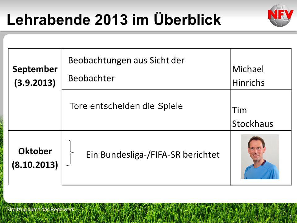 Lehrabende 2013 im Überblick Streifzug durch das Regelwerk 4 September (3.9.2013) Beobachtungen aus Sicht der Beobachter Michael Hinrichs Tore entsche