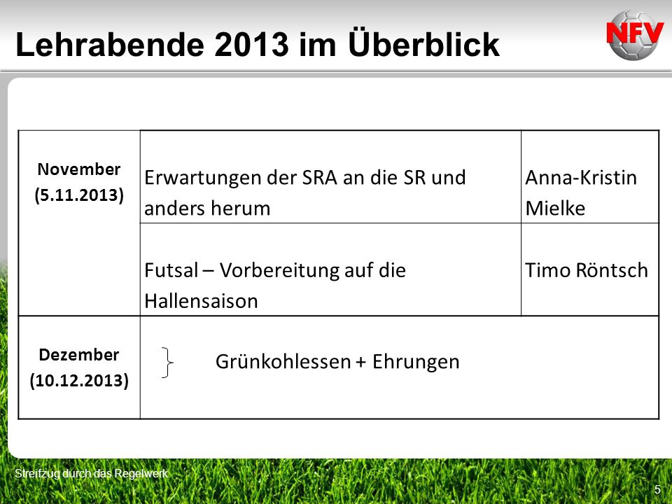 Lehrabende 2013 im Überblick Streifzug durch das Regelwerk 5 November (5.11.2013) Erwartungen der SRA an die SR und anders herum Anna-Kristin Mielke F