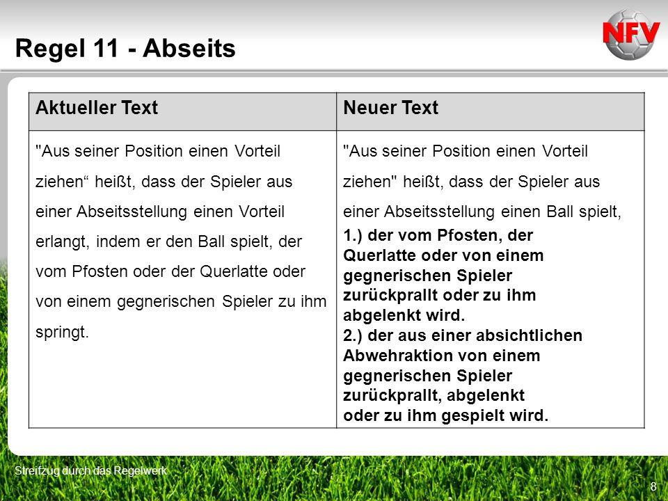 8 Regel 11 - Abseits Streifzug durch das Regelwerk Aktueller TextNeuer Text