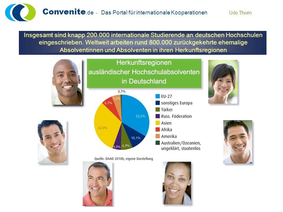 Convenite.de - Das Portal für internationale Kooperationen Udo Thorn Insgesamt sind knapp 200.000 internationale Studierende an deutschen Hochschulen eingeschrieben.