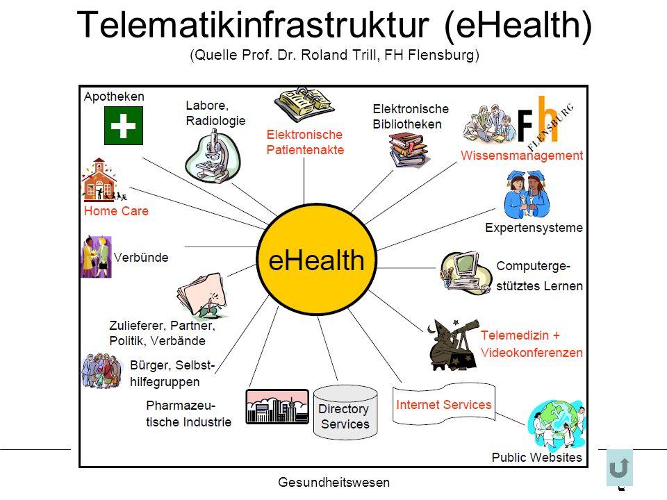 FH Finanzierung im Gesundheitswesen 17 Telematikinfrastruktur (eHealth) (Quelle Prof. Dr. Roland Trill, FH Flensburg)