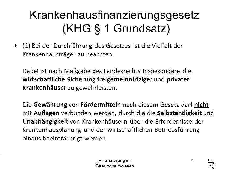 FH Finanzierung im Gesundheitswesen 4 Krankenhausfinanzierungsgesetz (KHG § 1 Grundsatz) (2) Bei der Durchführung des Gesetzes ist die Vielfalt der Kr
