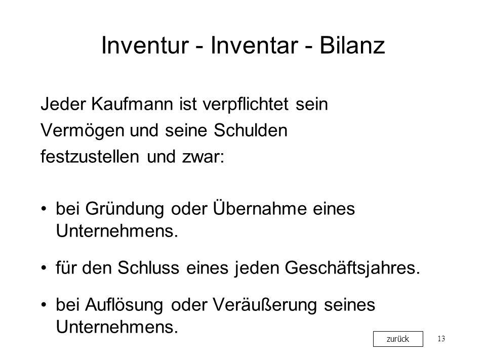13 Inventur - Inventar - Bilanz Jeder Kaufmann ist verpflichtet sein Vermögen und seine Schulden festzustellen und zwar: bei Gründung oder Übernahme e
