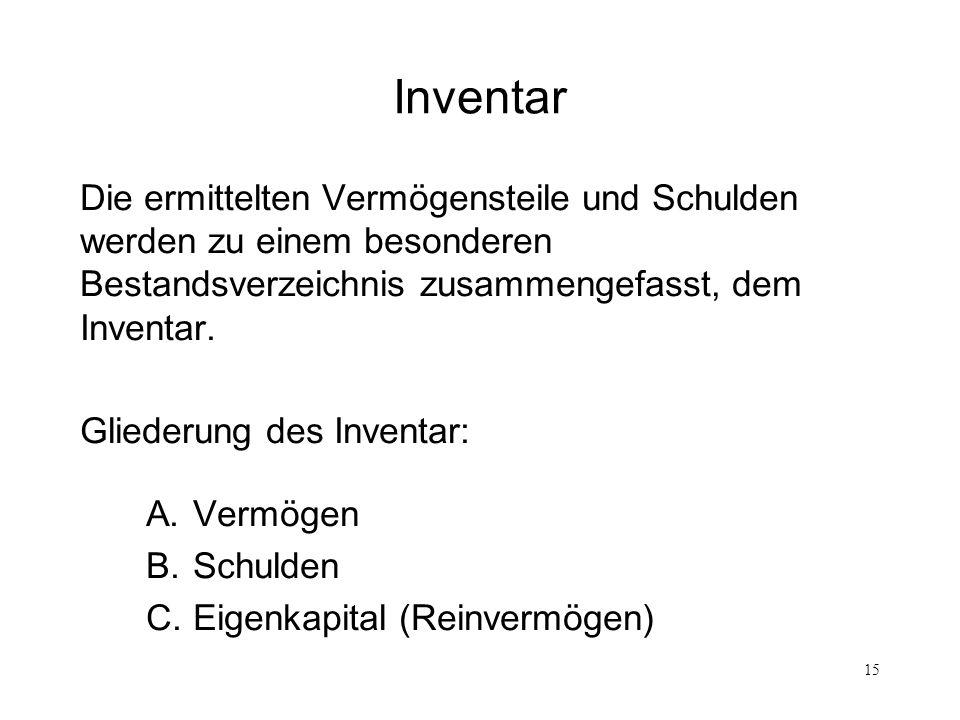15 Inventar Die ermittelten Vermögensteile und Schulden werden zu einem besonderen Bestandsverzeichnis zusammengefasst, dem Inventar. Gliederung des I