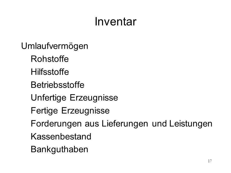 17 Inventar Umlaufvermögen Rohstoffe Hilfsstoffe Betriebsstoffe Unfertige Erzeugnisse Fertige Erzeugnisse Forderungen aus Lieferungen und Leistungen K