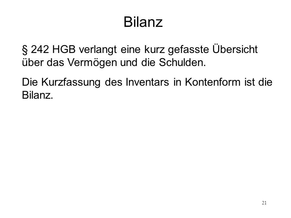 21 Bilanz § 242 HGB verlangt eine kurz gefasste Übersicht über das Vermögen und die Schulden. Die Kurzfassung des Inventars in Kontenform ist die Bila