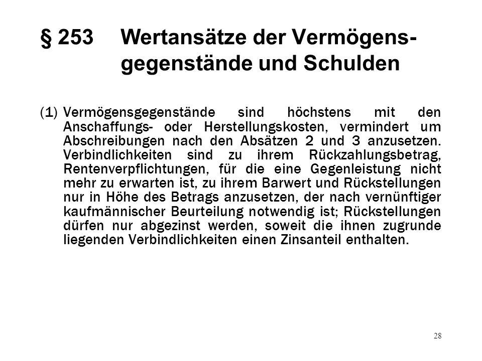 28 § 253Wertansätze der Vermögens- gegenstände und Schulden (1)Vermögensgegenstände sind höchstens mit den Anschaffungs- oder Herstellungskosten, verm