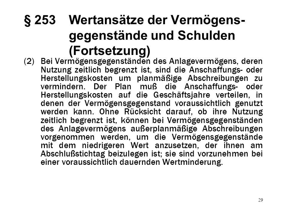 29 § 253Wertansätze der Vermögens- gegenstände und Schulden (Fortsetzung) (2)Bei Vermögensgegenständen des Anlagevermögens, deren Nutzung zeitlich beg