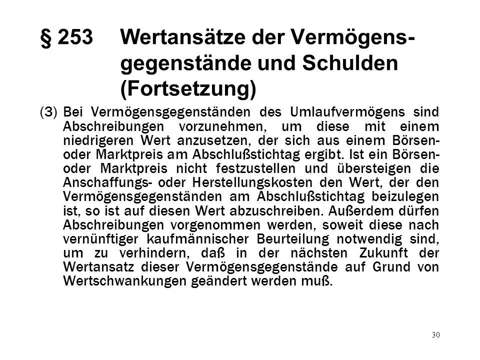30 § 253Wertansätze der Vermögens- gegenstände und Schulden (Fortsetzung) (3)Bei Vermögensgegenständen des Umlaufvermögens sind Abschreibungen vorzune