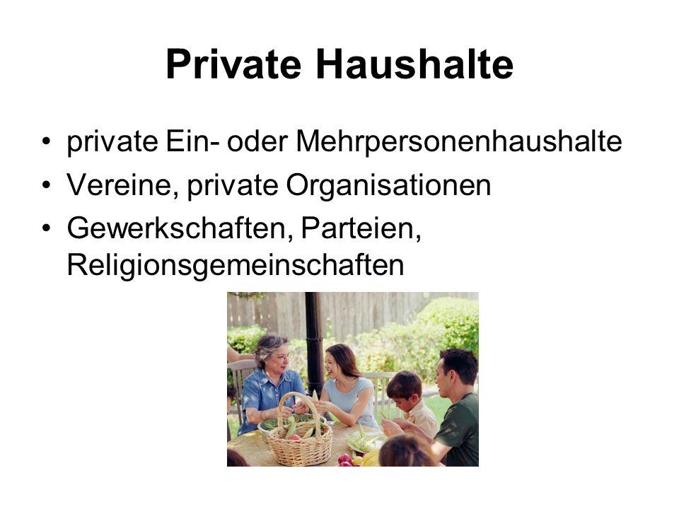 Private Haushalte private Ein- oder Mehrpersonenhaushalte Vereine, private Organisationen Gewerkschaften, Parteien, Religionsgemeinschaften
