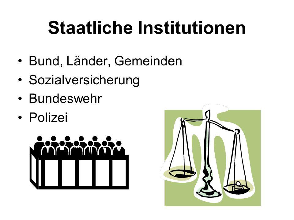 Staatliche Institutionen Bund, Länder, Gemeinden Sozialversicherung Bundeswehr Polizei