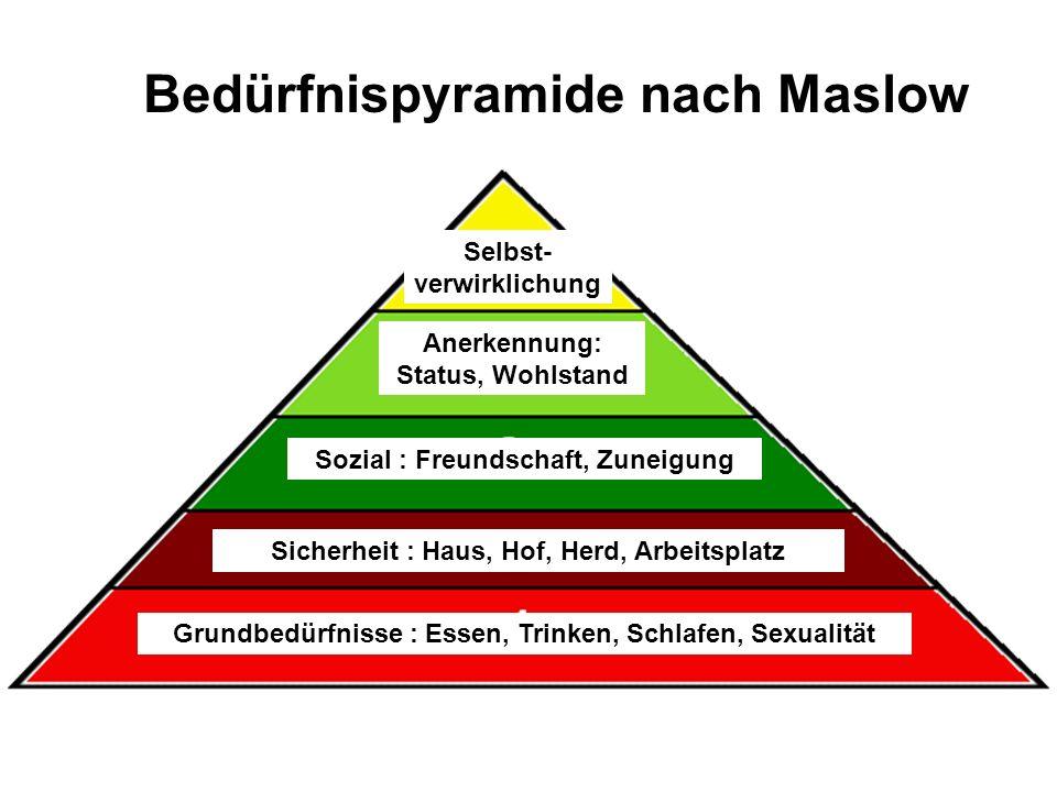 Bedürfnispyramide nach Maslow Grundbedürfnisse : Essen, Trinken, Schlafen, Sexualität Sicherheit : Haus, Hof, Herd, Arbeitsplatz Sozial : Freundschaft