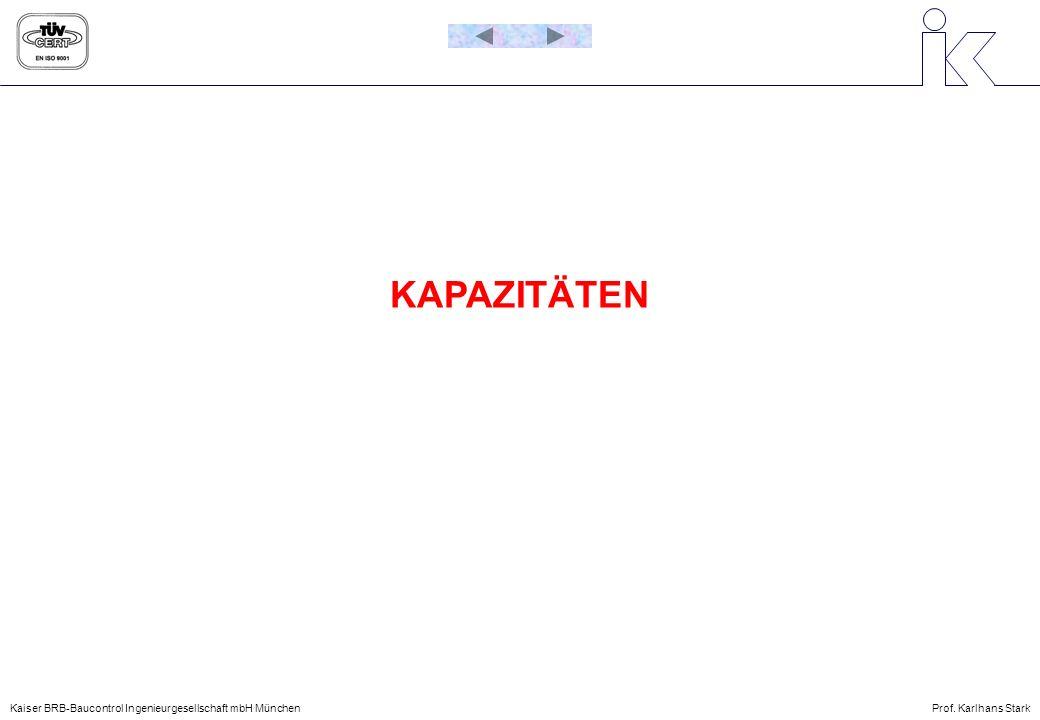 Kaiser BRB-Baucontrol Ingenieurgesellschaft mbH MünchenProf. Karlhans Stark KAPAZITÄTEN