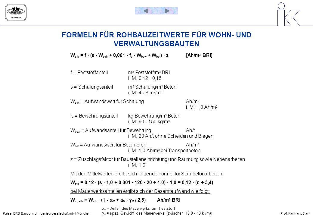 Kaiser BRB-Baucontrol Ingenieurgesellschaft mbH MünchenProf. Karlhans Stark FORMELN FÜR ROHBAUZEITWERTE FÜR WOHN- UND VERWALTUNGSBAUTEN W stb = f · (s