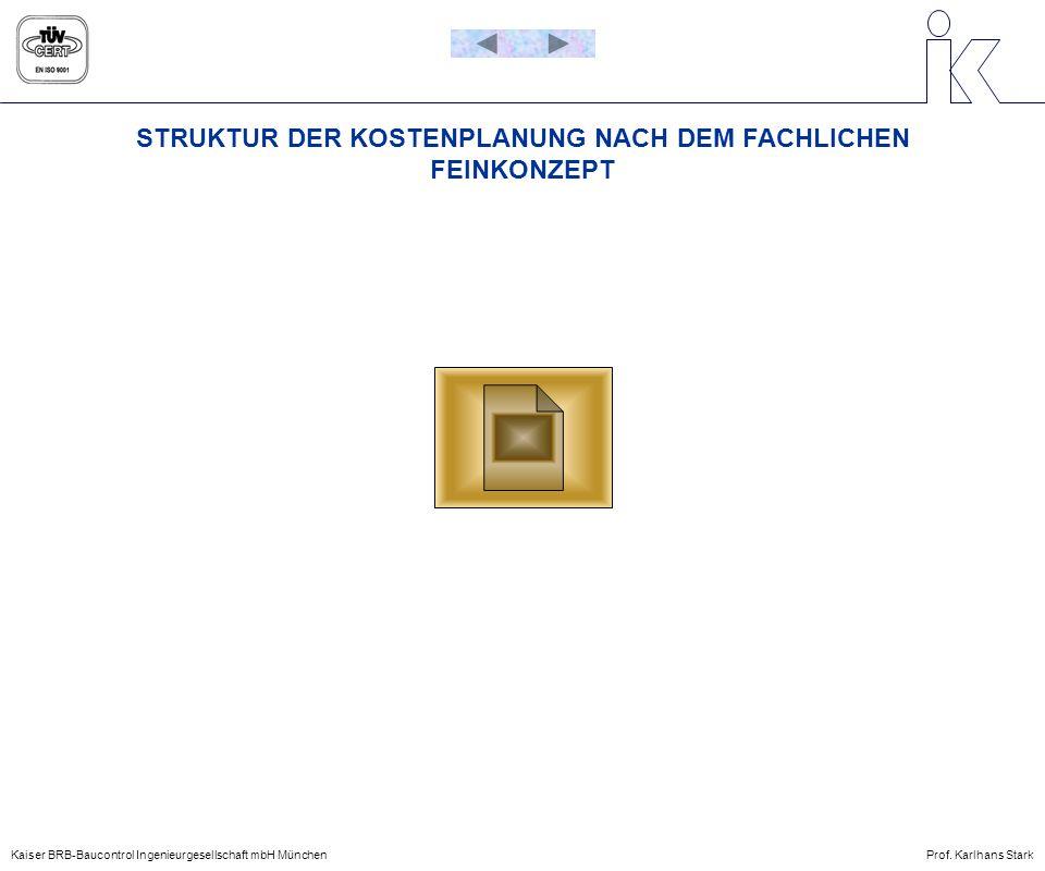 STRUKTUR DER KOSTENPLANUNG NACH DEM FACHLICHEN FEINKONZEPT Kaiser BRB-Baucontrol Ingenieurgesellschaft mbH MünchenProf. Karlhans Stark