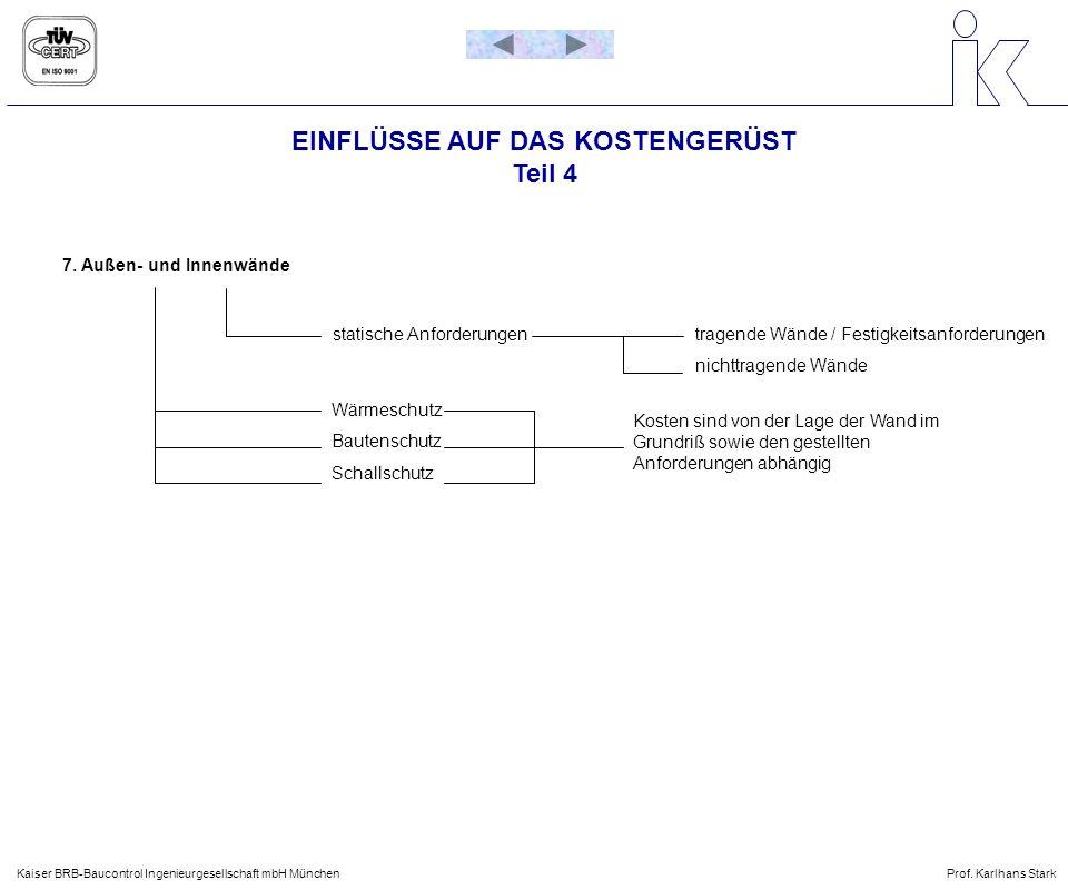 EINFLÜSSE AUF DAS KOSTENGERÜST Teil 4 Kaiser BRB-Baucontrol Ingenieurgesellschaft mbH MünchenProf. Karlhans Stark 7. Außen- und Innenwände statische A